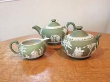 Wedgwood sage green dipped jasperware 3 piece teaset Wedgwood England mark