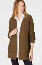 NEW J.Jill Women Open Front Cardigan Sweater Cotton Silk Loden Heather XS
