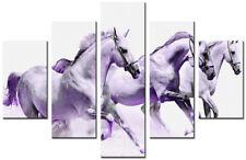 WHITE HORSES 5p Purple Large wall art canvas print artwork framed home living