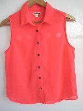 Womens pink sheer western blouse M cutout star button up down shirt sleeveless