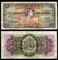 BERMUDA 5 SHILLING 1957 P 18 HEAVY USED CIRCULATED SEE SCAN