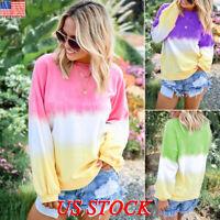 Women's Casual Color Pullover Jumper Hoodie Long Sleeve Sweatshirt Tops Blouse