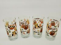 Vintage Woodland Owl Glass Tumblers - set of four