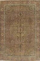 Vintage Geometric MUTED 6'x9' PALE PURPLE MAUVE Oriental Distressed Handmade Rug