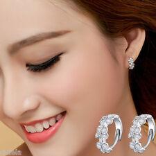 Elegant Women Silver Flower Plated Crystal Rhinestone Stud Earrings Hoop Jewelry