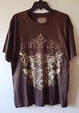 Men's GIVE ME FACE L 100% Cotton Cross & Revolver Design T-Shirt Brown