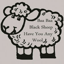 Baa Baa Black Sheep Childrens Quote Wall Sticker / Large Kids Quote Decal nin32
