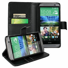 Black PU Leather Wallet Card Money Case Cover Stand for HTC One M8
