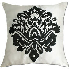 white and black damask embroidered cushion covers