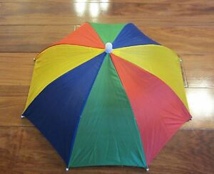 1 NEW MULTICOLOR UMBRELLA HAT CAP HANDS FREE ELASTIC HEAD BAND SHADE SPORTS