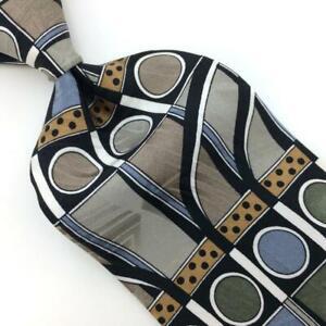 Martin Wong Screenplay Tie Atomic Art Deco Gray Olive-Green Silk Necktie I19-20