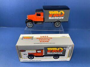 1993, ERTL,1931 Hawkeye Pro Hardware Truck Bank w/ Key, NIB, 1st in Series,