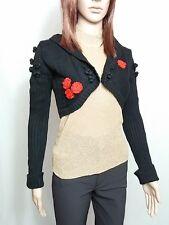 GINA TRICOT Ladies Black Cotton Embellished Knit Crop Bolero Cardigan sz S AO58