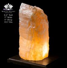 """9.5"""" Red Selenite Crystal Lamp With Black Walnut Base - RC-916-16 (Exact Lamp)"""