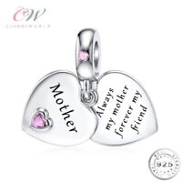 Mother Heart Charm Genuine 925 Sterling Silver 💞 Birthday Gift for Mum