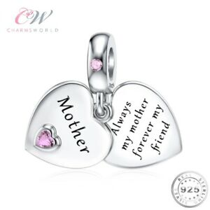 Mother Heart Charm Genuine 925 Sterling Silver 💞 Birthday / Mothers Day for Mum