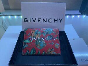 GIVENCHY CARD HOLDER | Flower Patterns Calfskin Leather Logo Card Holder