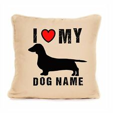 I Love My Sausage Dog Personalised Gift For Dachshund Dog Cushion With Pad