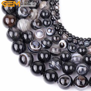 "Natural Black Agate Dzi Antiqued Tibet Onyx Gemstone Beads Jewelry Making 15"""