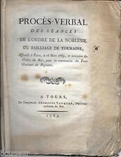 Procès-Verbal Ordre Noblesse Bailliage TOURAINE 1789 Etats Généraux DUC LUYNES