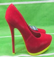 """new red/yellow 6""""Stiletto Heel 2""""Platform round Toe sexy Shoes Size 5.5"""
