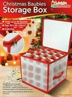 64 Bauble Storage Box Christmas Xmas Tree Decoration Organiser Baubles Decor Bag