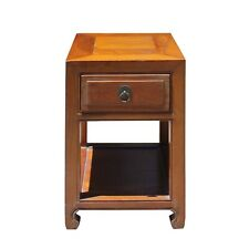 Chinese Oriental Brown Simple Ming Style End Table Nightstand cs5137