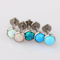 Opal Lip Bar Labret Ring Internally Threaded Ear Tragus Cartilage Stud Piercing.