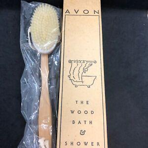 "Avon Wood Bath & Shower Brush 16 1/4"" Detachable Head 1999 NEW Sealed"