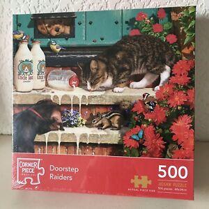 Corner Piece - Doorstep Raiders (Cats) 500 Piece Jigsaw Puzzle, Brand New Sealed