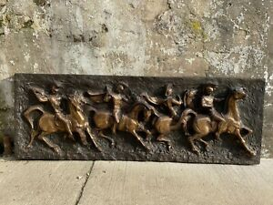 Mid Century Modern Fiberglass Brutalist Roman Horse Knight Sculpture Signed