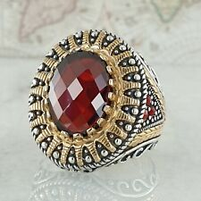 Solid 925 Sterling Silver Red Garnet & Agate Gemstone Mens Ring Ottoman Style