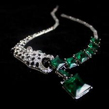 Costume Necklace Silver Emerald Green Strass Leopard Square Original Party FUN3