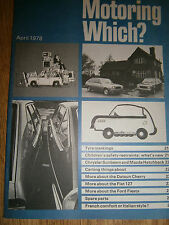 Vintage Motoring Which? magazine April 1978  Ford Fiesta, Fiat 127