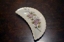 VINTAGE Crescent Shaped FLORAL RETRO China Bone Plate Trinket Dish Vanity Tray