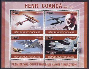 Togo Mi-Nr. 3789 - 3792 KB **, Henri M. Coanda - Flugzeuge / Airplanes (12 ME)