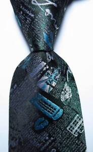 New Classic Novelty Sky Blue Green White JACQUARD WOVEN Silk Men's Tie Necktie