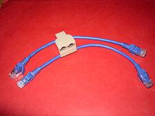 Splitter Doubleur Coupleur Ethernet RJ45  avec 2 cordons 20cm