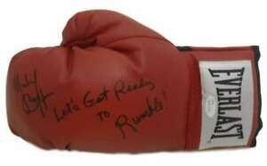 Michael Buffer Autographed/Signed Red Boxing Glove Get Ready To Rumble JSA 14552