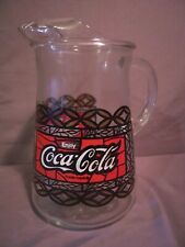 Coca-Cola Coke Pitcher Vintage 64 oz. Stained Glass Red & White Pattern Lot (2)