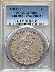 1870-CC SEATED LIBERTY DOLLAR $1 PCGS UNC MS BU DETAILS, MS60 PG = $26,500!