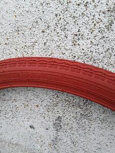 Pneus vélos anciens. 650b rouge brique demi ballon. Etrto 44/584