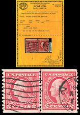 Scott 454 1915 2c Washington Rotary Press Type II Coil Used Line Pair VF PF CERT