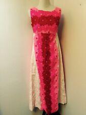 Ui Maikai Vintage 60s Hawaiian Maxi Dress Pink Floral Sleeveless size S-M