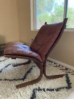 VTG Mid Century Modern Norway Ingmar Relling Westnofa Siesta Chair Teak Leather