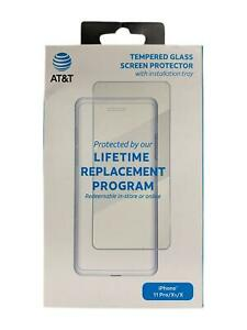 """AT&T Tempered Glass Screen Protector for Apple iPhone 11 Pro iPhone X 5.8"""" Clear"""