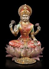 Lakshmi Figura sobre loto COLORES Bronce - INDIO Diosa SUERTE AMOR flor