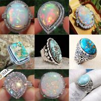 925 Silver Opal Turquoise Ring Women Men Jewelry Wedding Engagement Fashion 6-10