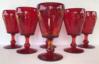 Vintage Paden City Popeye & Olive Ruby Red Glass Water Goblets (6) Bubble Glass