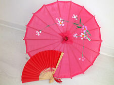 JAPANESE S HOT PINK PARASOL RED PAPER HAND FAN CHINESE UMBRELLA WEDDING PARTY